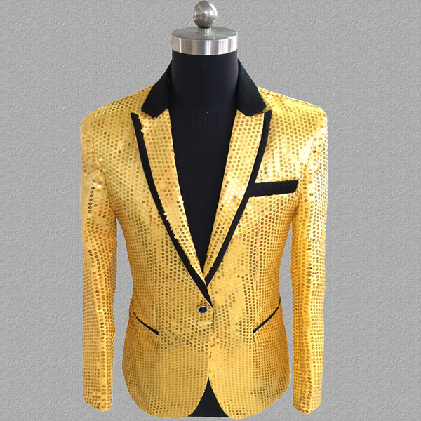 sequins blazer men suits designs jacket mens gold stage singers clothes dance star style dress masculino homme silver black blue