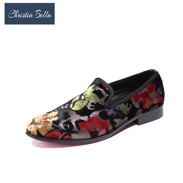 Mocassini stampa Christia Bella uomini nuova moda in pelle scamosciata uomini scarpe da sera più tondo punta rotonda Slip on Party Shoes