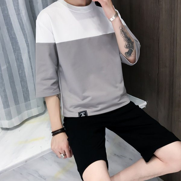 2019 summer fashion  menswear streetwear breathable top+short pants casual clothing for two piece set