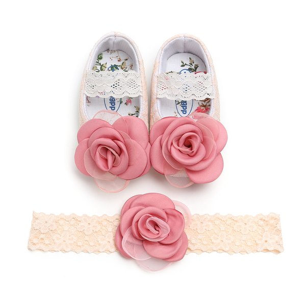 Small flower lace flower baby girl princess shoes flower hairband 2 piece set baby gift matching newborn first walkers W56