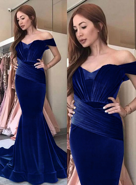 2019 New Velvet Mermaid Prom Dresses Formal Evening Wear Off Shoulder Evening Gowns Pleated Floor Length Party Dress