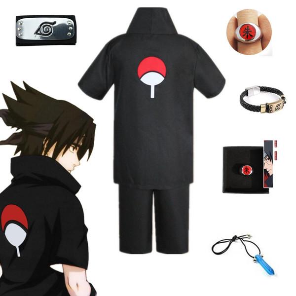 top popular Halloween Unisex Japan Anime Naruto Black Uchiha Sasuke Cosplay Party Costume Short Sleeve Shirt Shorts Headband Full Set 2020