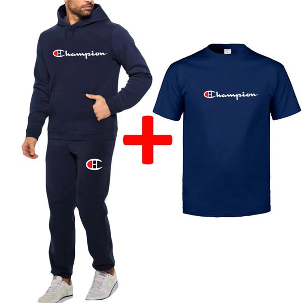 Mens Autumn Champion Outfit Hoodie Pullover + Tshirt + Pants 3 Piece Set Designer Tracksuit Casual Hooded Sportswear Winter SweatsuitB82304