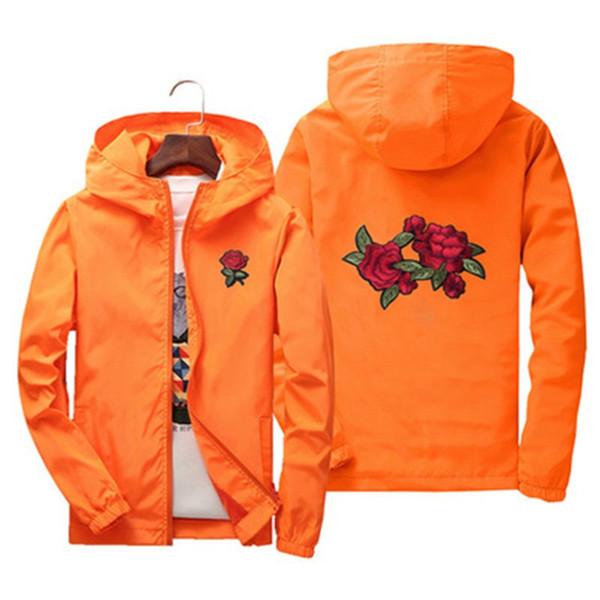 Unisex hombres mujeres linda rosa bordado chaquetas Europa Rusia primavera otoño Estilo bonito casual naranja rojo con capucha con capucha Abrigos