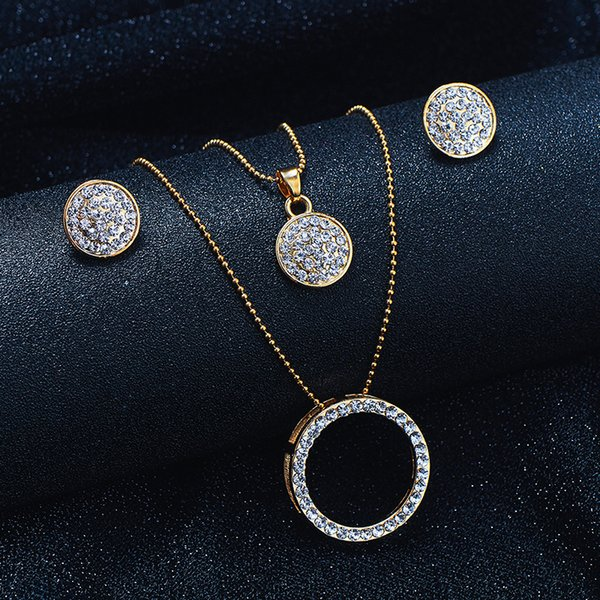 SHUANGR Vintage Gold Color Jewelry Set Austrian Crystal Classic Hollow Round 46cm Necklace Pendant Earrings Set