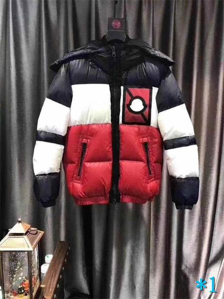 Giacca Mens Giù con cappuccio inverno spesso Marca Windbreaker Giù cappotto Cerniere casuale delle parti superiori di modo di stile patchwork a strisce Jacket # 1