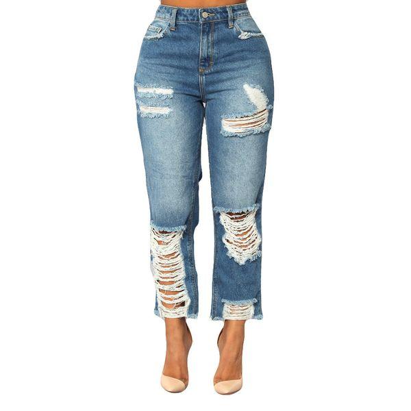 Bleach Yıkama Rendelenmiş Kalem Skinny Jeans Kadın Yırtık Mavi Yüksek Bel Sıska Uzun Pantolon Sıkı Denim Kot