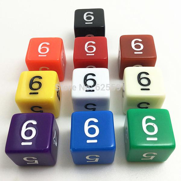 Wholesale-10pcs / set TG Qualitäts-bunte Würfel D6 stellten undurchsichtigen Effekt, Dungeons und Drachen 6 Seiten-Digital-Würfel, digitale Nr. 1-6 ein