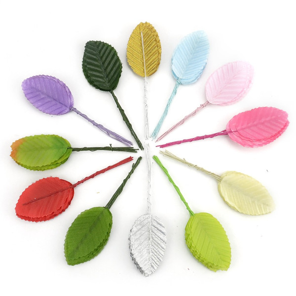 30pcs Artificial Colorful Rose Leaves Flower Bouquet For Wedding Home Party Decoration Fake Plastic Green Leaf Crafts Supplies