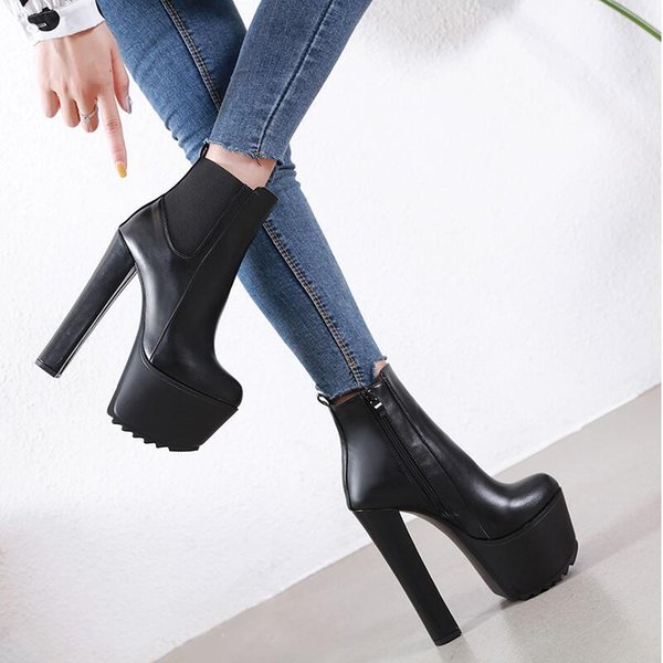 2019 NEW Fashion Black Platform Ankle Boots Women Winter Shoes Round Toes  Short Boots 16cm Square Heel Side Zip Concise High Heel Boots White Boots