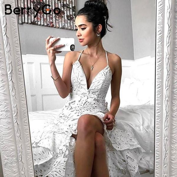 Berrygo Seksi Backless Boho Dantel Elbise Kadınlar Casual V Boyun Zarif Uzun Elbise Yaz 2018 Parti Plaj Beyaz Maxi Elbise Vestidos Y19053001