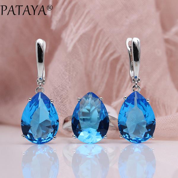 Großhandel Neue Schmuck Set True White Gold Wassertropfen Natürliche Zirkon Blaue Ohrringe Ringe Sets Frauen Mode Hochzeit Edle Set