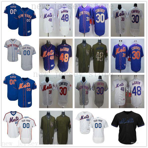 2019 Herren Damen Jugend NY Mets Baseball Jersey Custom 30 Michael Conforto 48 Jacob DeGrom 33 Matt Harvey 31 Mike Piazza 52 Yoenis Cespedes