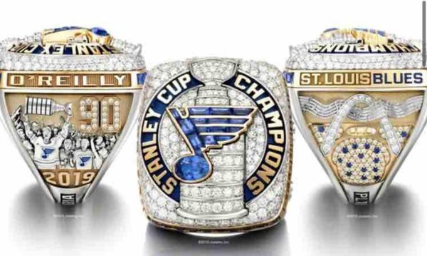 top popular 2018 2019 St.Louis Blues Stanley Cup Team Champions Championship Ring With Wooden Display Box Souvenir Fan Gift Wholesale 2020 Drop Shipping 2020