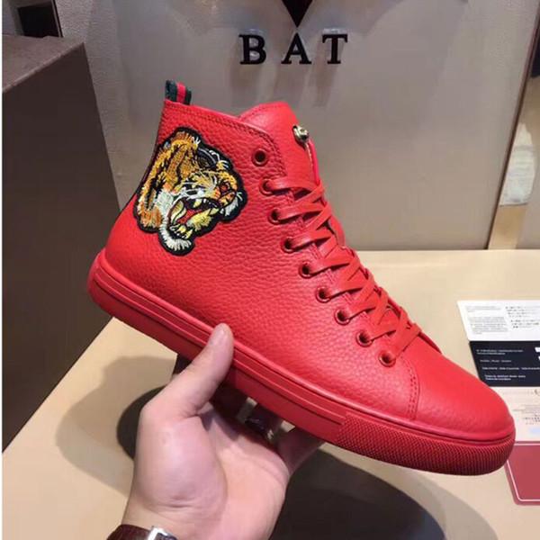 Beste Qualität Designer Schuhe High-Top Snake Echtes Leder ACE Weiß Herren und Damen Stiefel Designer Sneakers