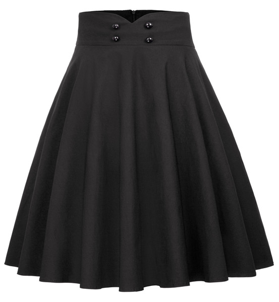 Bp Women Solid Color Skirts Korean Style Vintage A-line Skirt Button Decorated High Waist Flared Knee Length Skater Skirt Ladies Y19060301