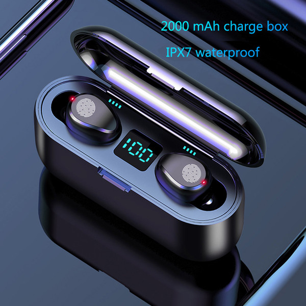 best selling Wireless Earphone Bluetooth V5.0 F9 TWS Wireless Bluetooth Headphone LED Display With 2000mAh Power Bank Headset With Microphon