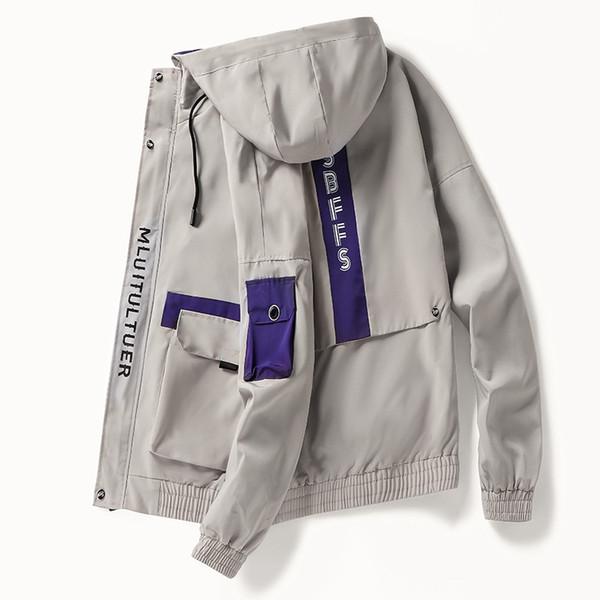 Chaqueta de mono con capucha con cremallera para hombre brazalete de streetwear japonés patchwork biker chaquetas masculinas vintage abrigos rompevientos hombres