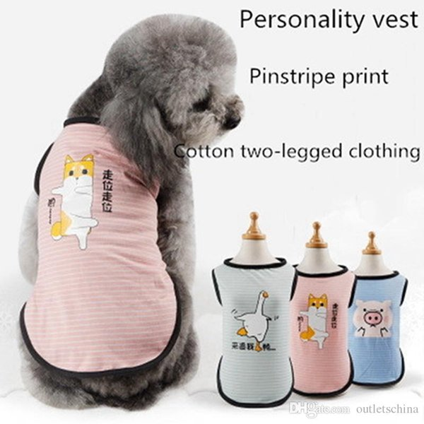 Fashion Pet Vest Spring And Summer T-shirt Pinstriped Personality Printed Teddy Pet New Love Mom Various Dog Clothes Vest Shirt Clothing