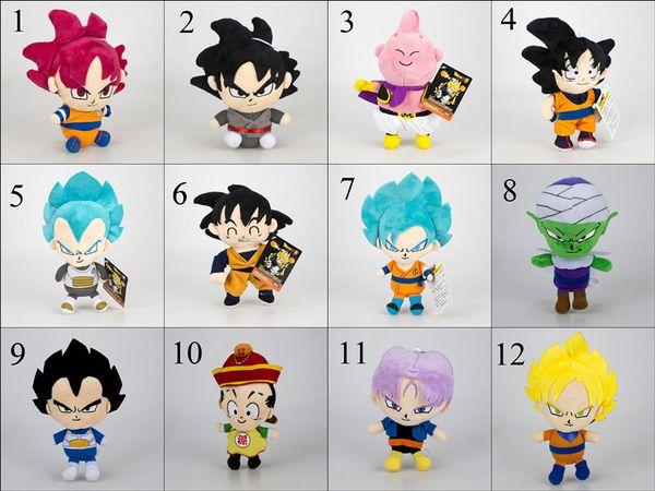12 estilos Dragon Ball Z juguetes de peluche 2019 Nueva caricatura Kuririn Vegeta Goku Gohan Piccolo Beerus muñecos de peluche niños regalo de Navidad juguete 16-20cm