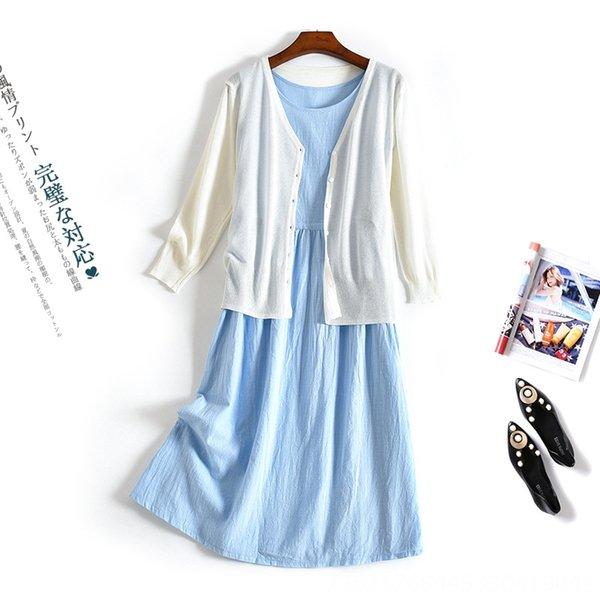 Falda azul + blanco Cardigan