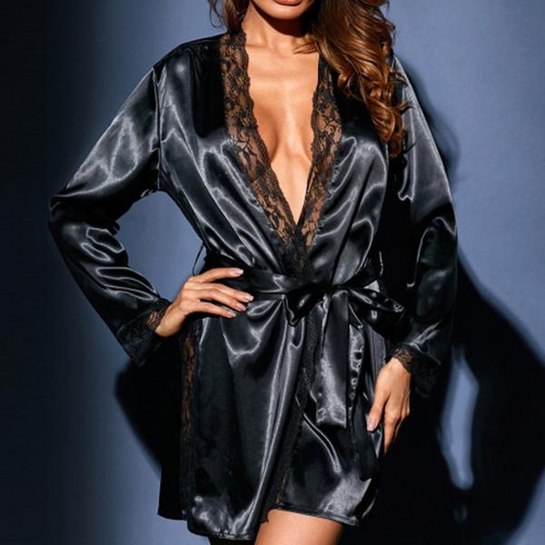 Sexy Pajamas Large Size Satin Night Robe Lace Bathrobe Wedding Robes Dressing Gown Women Robes Sleepwear Ladies Bathrobe #W