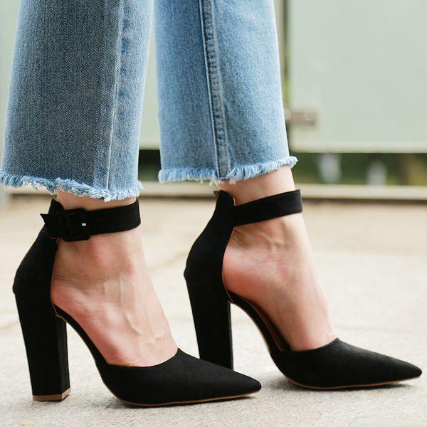 2019 Seksi Klasik Yüksek Topuklu kadın Sandalet Yaz Ayakkabı Bayanlar Strappy Platformu Topuklu Kadın Ayak Bileği Kayışı Ayakkabı Pompalar