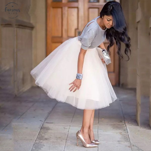 Frauen Neue Ankunfts-5 Schicht Mode Puffy Tüllrock Tutu Brautbrautjunfer Overskirt Petticoat Lolita Saia