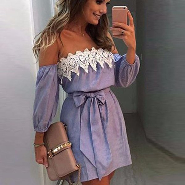 Casual Ladies Dress Off-Shoulder Lace Dress Lace Striped Three-Sleeve Navy Collar Sleeveless Party Short T527