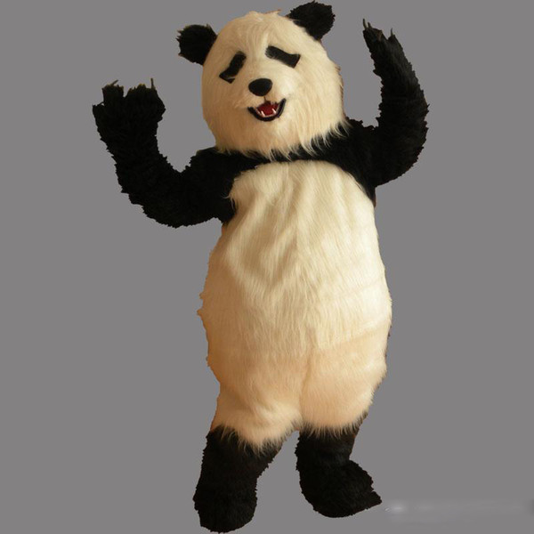 Panda Furry alta qualidade Mascot Costume Adult Tamanho Adorável Partido Panda Fancy Dress gratuito Shipping0