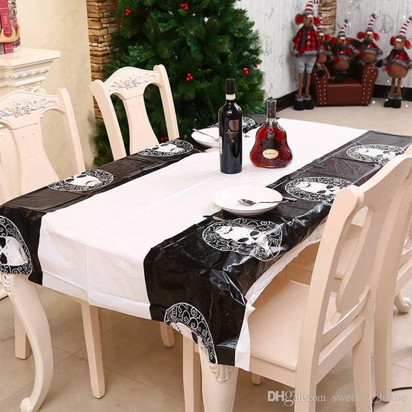 Halloween Party Decoration pumpkin Table Cloth skull Table Cloth 108*180cm Black Lace Table Covers for Halloween Decoration Home Decor 11A