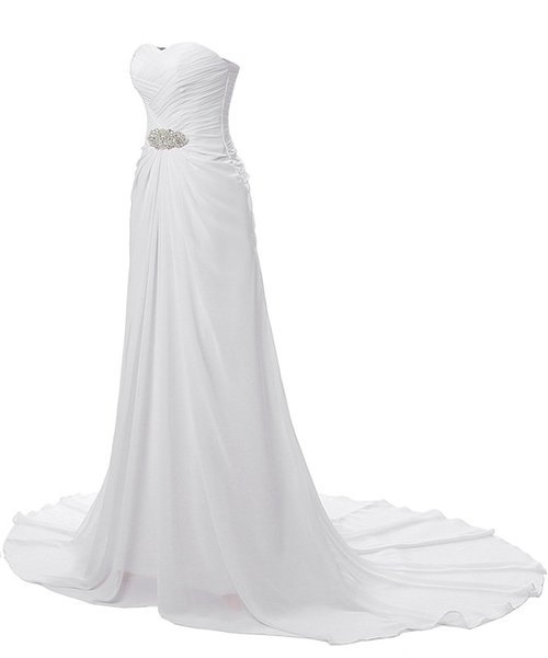 Chiffon Wedding Dresses Cheap 2017 Pleated Beaded Mermaid Bridal Gowns Lace Up Back Real Photo Wedding Gowns Vesitdos De Noiva