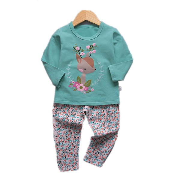 VIDMID 1-9Y girls pajamas clothing sets kids t-shirts and pants baby girls underwear sets for girl sleepwear suit set 4049 02