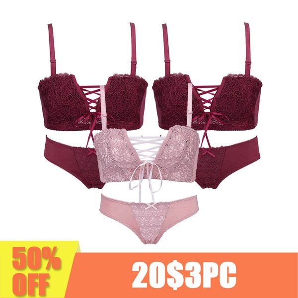 3 Piece Sexy women Underwear Japanese super Sexy push up bra red and pink Princess straps belt lace women bra set Lingerie