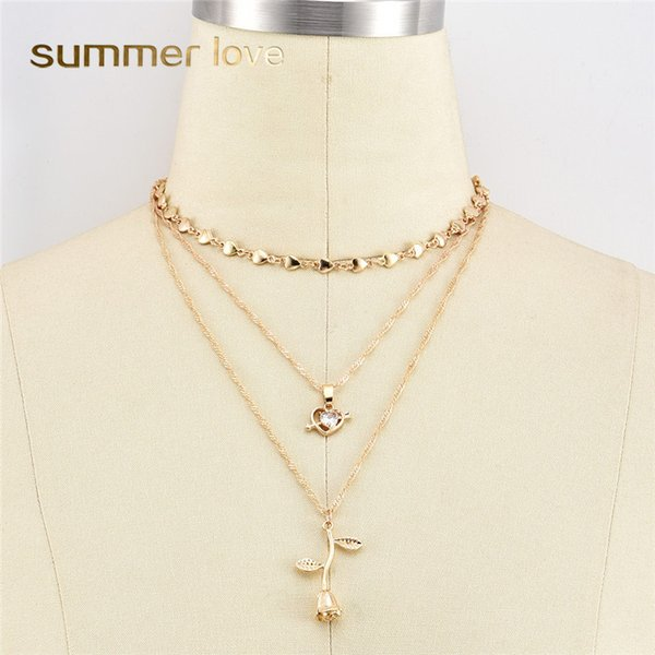 2019 New Fashion Multilayer Pendant Necklace Set For Women Peach Heart Cupid Love Rose Flower Crystal Jewelry Gift