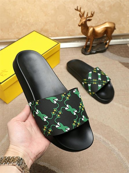 2019 Pool Slides With Embossed Rubberised Slip-On Rubber Pvc Sandals Slippers For Men 0Fendi01 House Slippers Men Slippers Babouche