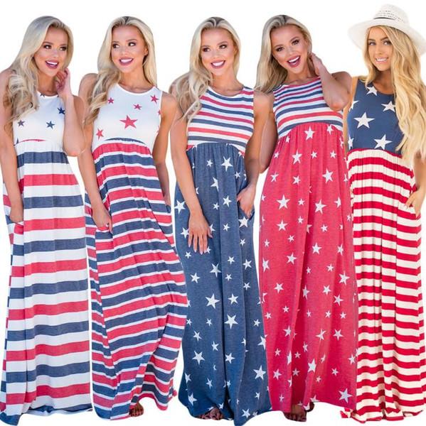 Bandera Nacional Vestido Impreso 5 Colores Mujeres Sin Mangas de Remiendo de Cuello Redondo Chaleco Maxi Boho Vestido Vestidos Largos de Playa OOA6777