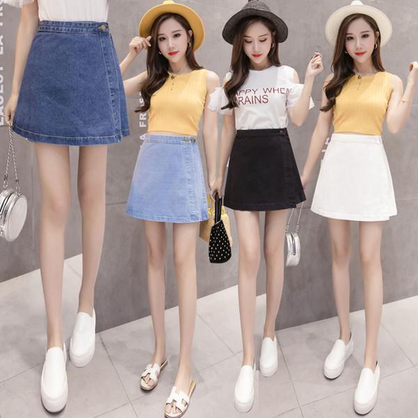 4 couleurs style preppy Femmes Casual Simple Mignon Mini Denim Jupe Jeans été confortable élégante jupe femmes une ligne courte