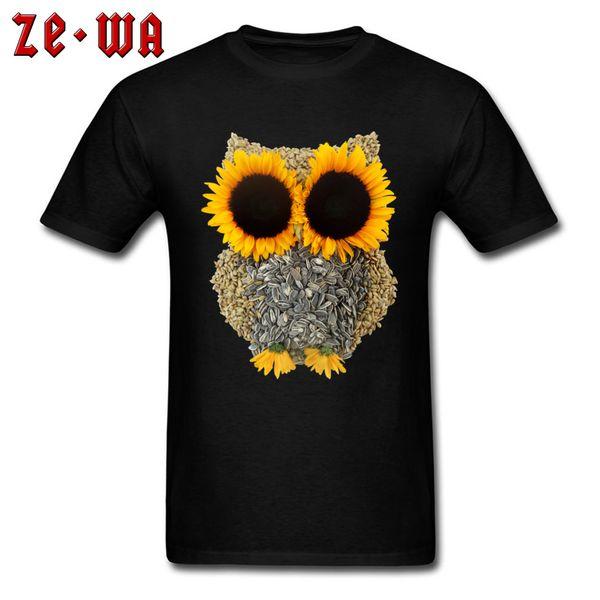 Funny Men Tops & Tees Hoot Day T-shirt Owl Geek T Shirt 3D Sunflower Seed Print Tshirt All Cotton Short Sleeve Sweatshirts Red