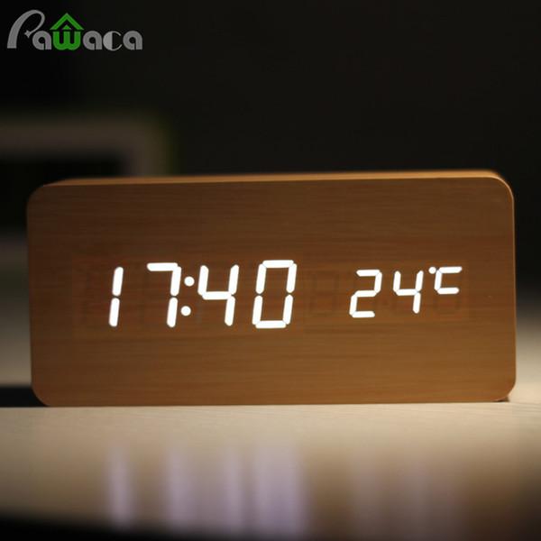 wooden clock Home Decor Digital Sound Voice Control Clocks Wood LED Light Time Humidity Display Wooden Alarm Clock Electronic Clocks
