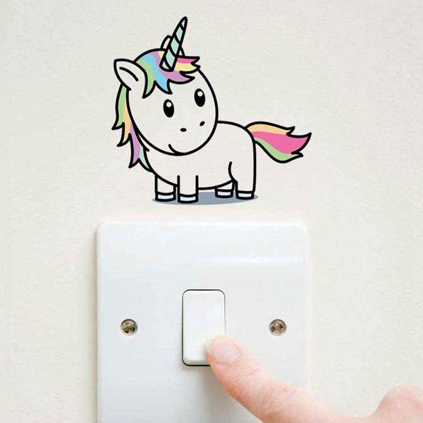 Acquista Cartoon Unicorn Light Switch Color Wall Stickers Bambini Camere  Camera Da Letto Rimovibile Interruttore Wall Art Decalcomanie Home Decor A  ...
