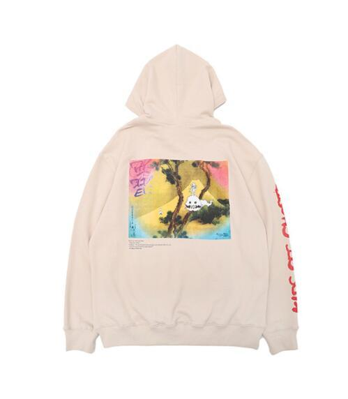 Kanye West Kids See Ghosts Stampato KSG Mens Designer Designer Felpe con cappuccio Hip Hop High Street Felpa Casual Pullover maschile