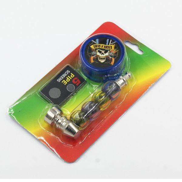 Metal Pipe Set Kit Tobacco Pocket Jamaican Bob Colorful Beads Pipe Smoking Herb Pipe with Plastic Grinder Screens Mesh Filter DHL