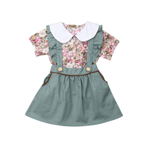 New Summer Toddler Kids Baby Girl Short Sleeve Peter Pan Collar Floral Shirt Tops Ruffles Suspender Skirt Overalls 2PCS Clothes