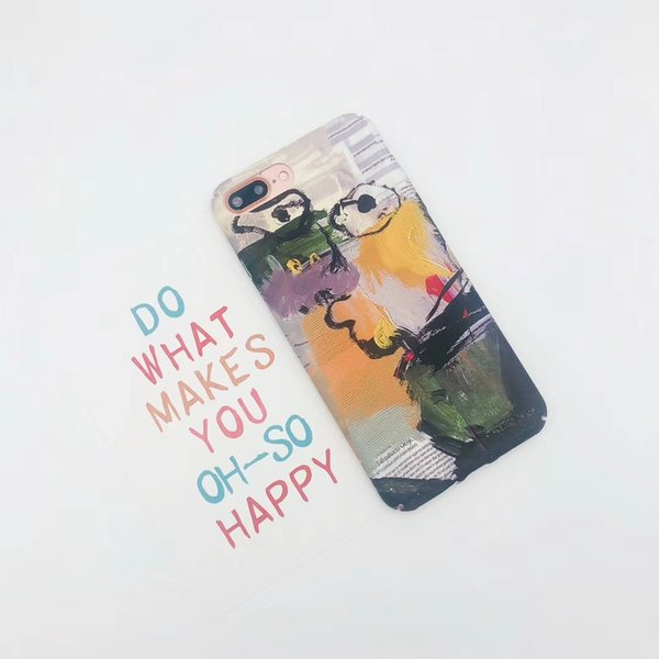 Oil Painting In Ink Retro Art Abstract Frosted Hard Frotective Cover Candy Color Sanding cell phone case for iphoneX 6s 7 plus
