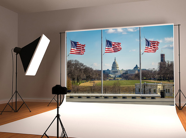 Dream 7x5ft Independence Day American Flags Photography Backdrop US Capitol Flag Scenery Photo Background for Photographer Shoot Studio Prop