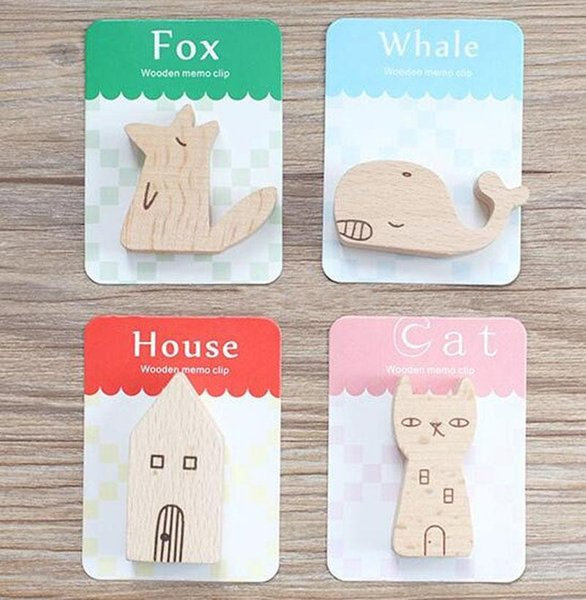 Wood Photo Holder Stands Birthday Wedding Party Table Number Holders Cat/Fox/Whale/House Place Card Paper Menu Clips