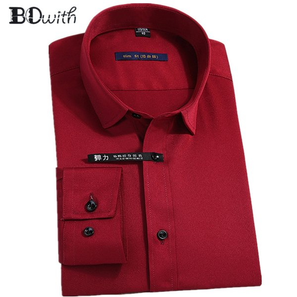 New Arrival Wine Red Solid Shirts for Men Long Sleeved Shirt Male Social Business Dress Work Men Business Shirts Formal 4XL