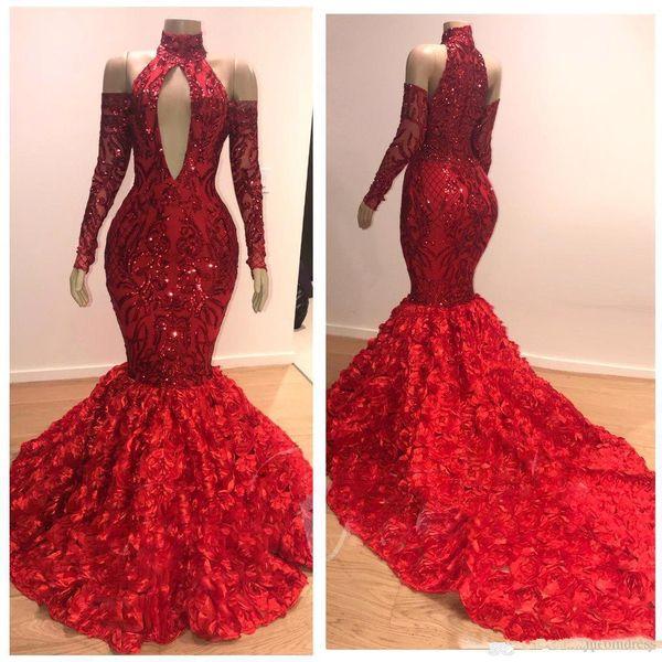 Vestidos De Baile Vermelho Charme 2k19 Ruched Rose Trem Longo Sereia Vestido De Noite De Alta Neck Fora Do Ombro Mangas Compridas Vestido De Festa Com Zíper De Volta