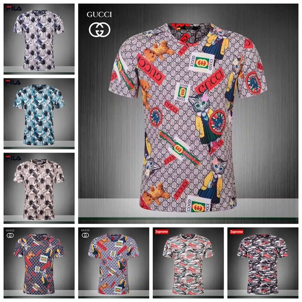 18ss Summer Street wear Fashion Italian 3 d printing Men High Quality with smooth silky cotton Tshirt Casual Women Tee T-shirt M-3XL JS